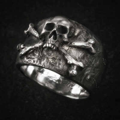 Vintage Crossbones Pirate Skull Ring