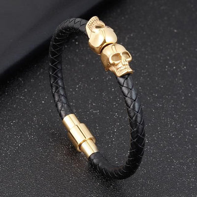 Braided Leather Bracelet with Skull - TheNineOneOne
