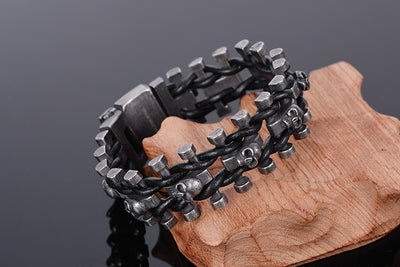 Stainless Steel Skull Bracelet with Chain Leather