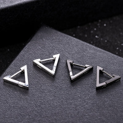 Triangle Earrings with Black and Silver Color Options