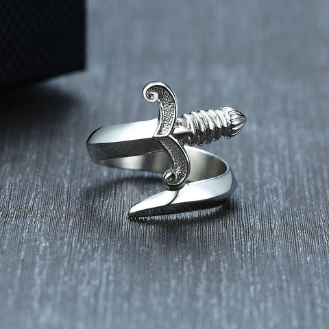 Sword Silver Color Ring