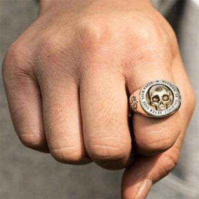 Two-Tone Skull Ring