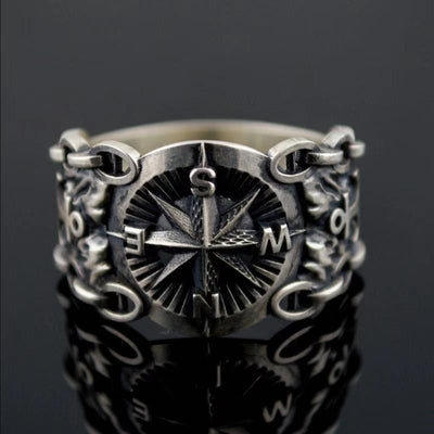 Vintage Northern Europe Style Pirate Compass Rings