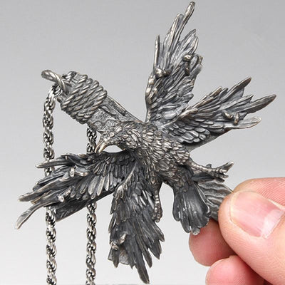 Vintage Four Wing Crow Pendant - TheNineOneOne