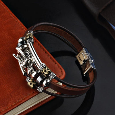 Multiple Leather Chinese Dragon Bracelet - TheNineOneOne