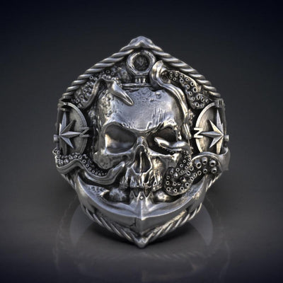 Compass and Octopus Detailed Vintage Skullhead Ring - TheNineOneOne