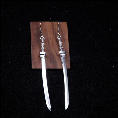 Silver Katana Earrings