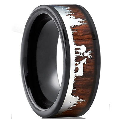 Tungsten Deer Detailede Wood Ring