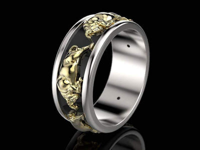 Bulls Gold Carving Taurus Rings - TheNineOneOne