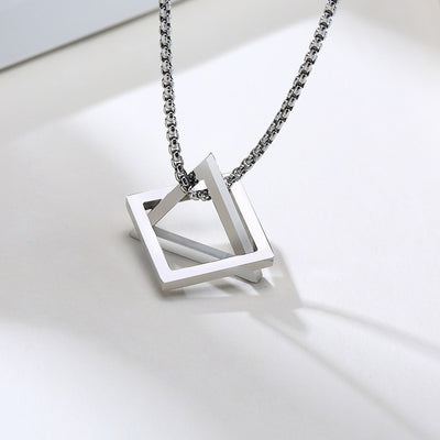 Triangle With Square Pendant Necklace