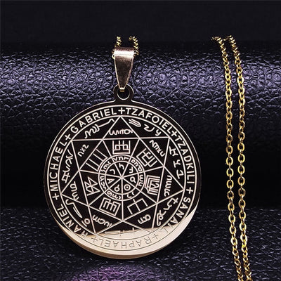 Seven Archangels Pentagram Stainless Steel Necklace