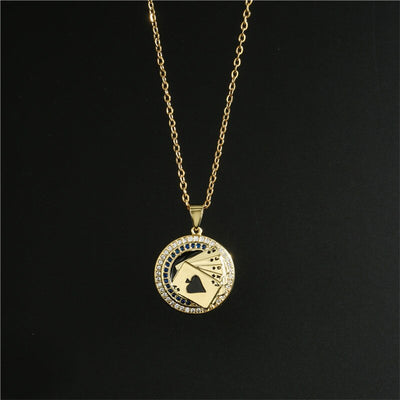 Lucky Flush Poker Pendant Necklace