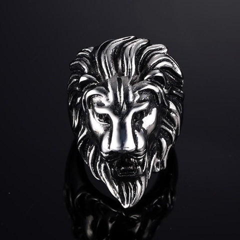 African Lion King Silver Ring - TheNineOneOne
