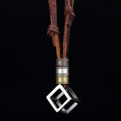 Leather Cube Box Necklace