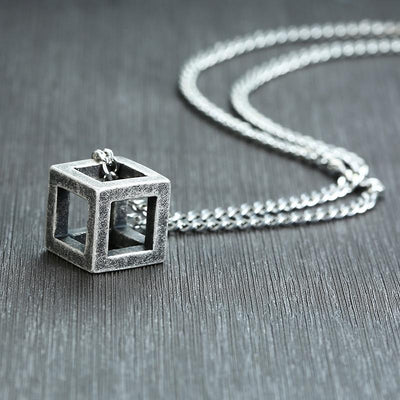 "Vintage Cube Pendant Stainless Steel Necklace 24"" Chain"