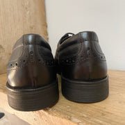 Geox Agata Leather School Shoes Black