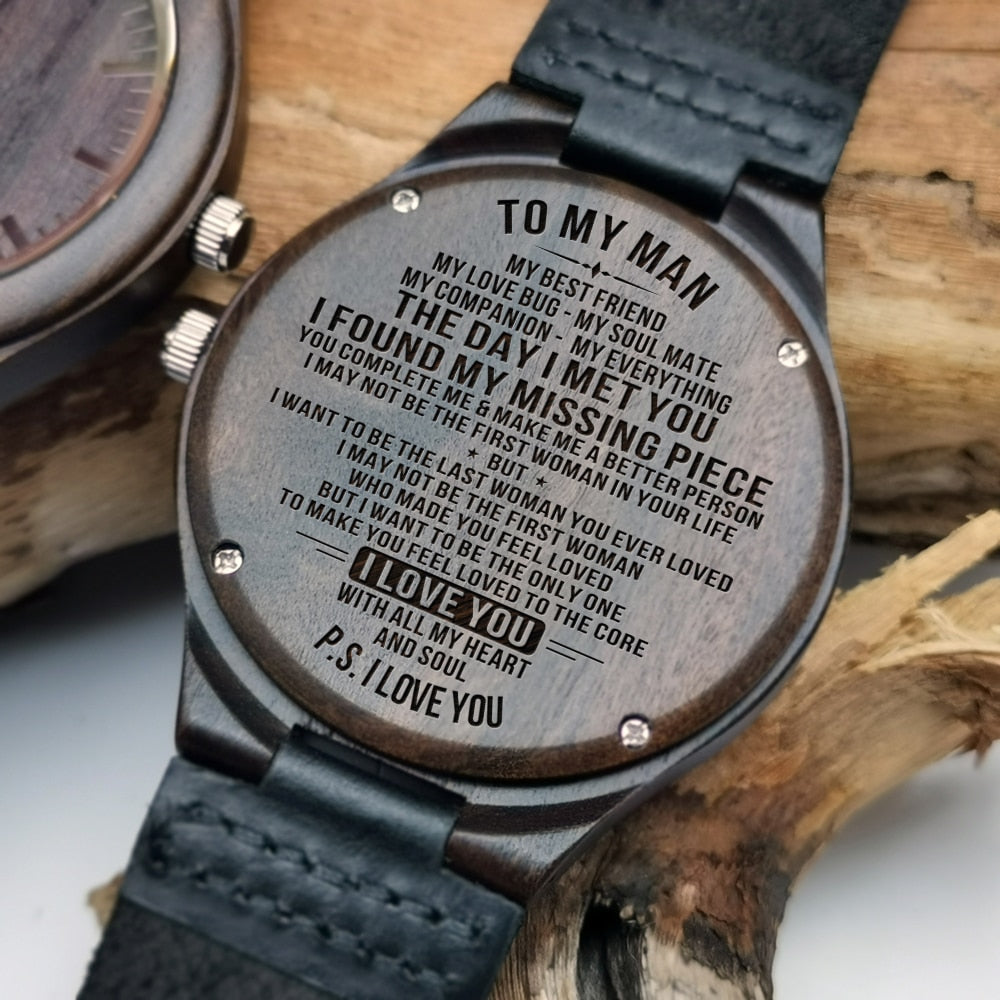 Engraved Wood Watch | My Lovely Presents