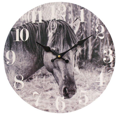 Black & White Horse Clock
