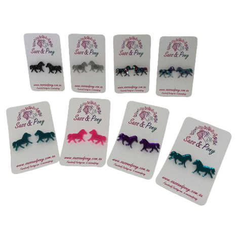 Pony Stud Earrings - Assorted Colours