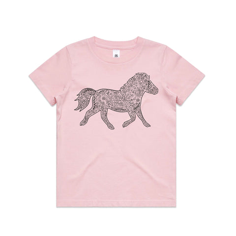 Black Floral Pony T Shirt