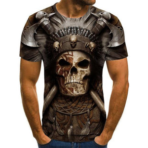 Motorcycle Skull 2 Men's Brown T-shirt-motorcyle men tops-All10dollars.com