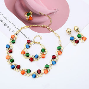 Wedding Jewelry Sets For Women Round Pendant Necklaces Earrings Bracelets Set Accessories-Women jewelry set-All10dollars.com