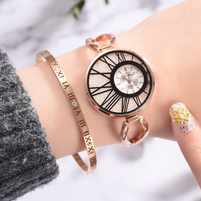 Luxury Ladies Women Alloy Rose Gold Dress Quartz Wrist Watch-rose gold watch-All10dollars.com