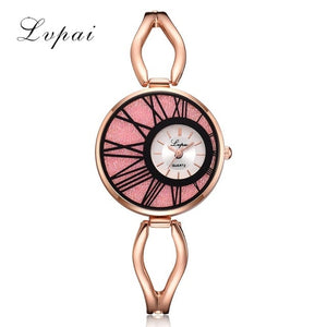 Luxury Ladies Women Alloy Rose Gold Dress Quartz Wrist Watch