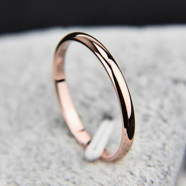 Titanium Steel Rose Gold Smooth Simple Wedding Couples Rings Man or Woman-Wedding Ring-All10dollars.com