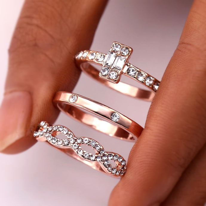 3Pcs/Set Fashion Infinity Rings Set For Women/girls Crystal Twist Ring Couples Gold Engagement Wedding Jewelry-Twist ring-All10dollars.com