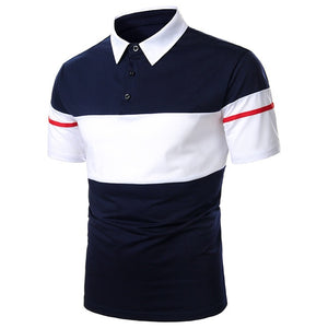 Men Polo Shirt Short Sleeve Contrast Summer Streetwear Casual Fashion tops