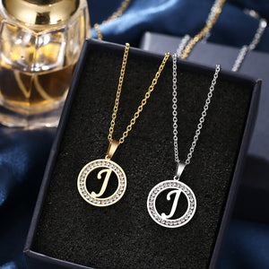 Stainless Steel 26 letters A-Z Necklace Crystal Rhinestone Necklaces For Women Wedding-26 lettters A-Z-All10dollars.com