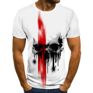 Men's T -Shirt Horror skull White Tops 3D Printed-men top-All10dollars.com