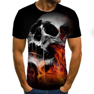 Gothic Flaming Skull Men's T-shirt-gothic skull print top-All10dollars.com