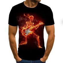 Load image into Gallery viewer, Gothic Flaming Skull Men's T-shirt-gothic skull print top-All10dollars.com