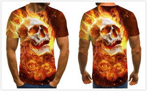 Gothic Skull 3D Printed fashion Flame Bold