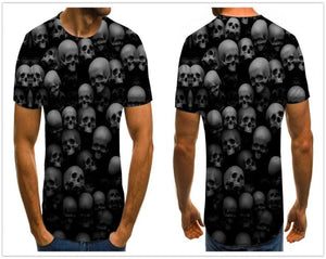 Gothic Skulls Print Men's Black shirt-gothic skull print top-All10dollars.com