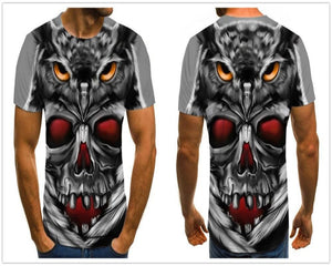 Triple Eyes Gothic Skull Print Men Tee-gothic skull print top-All10dollars.com
