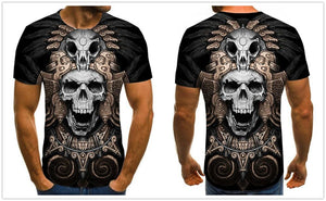 Motorcycle Skull Men's Brown T-shirt