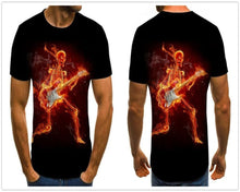 Load image into Gallery viewer, Gothic Skulls Print Men's Black Flaming Skeleton Shirt