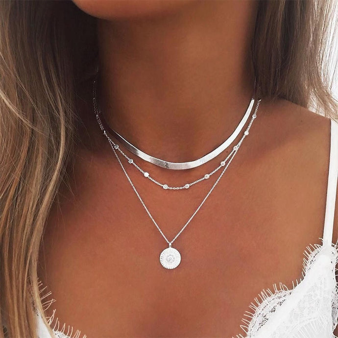 Star Jewelry Heart Love Multi layer Choker Necklace Chain Lotus Boho Pendants Necklaces-necklace-All10dollars.com
