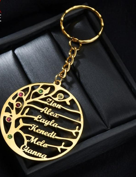 Custom Birthstone Tree of Life Keychains Stainless Steel-Birthstone tree keychain-All10dollars.com