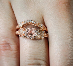 Tellis 2 piece Zircon Engagement and Wedding Rings-Rose gold ring-All10dollars.com