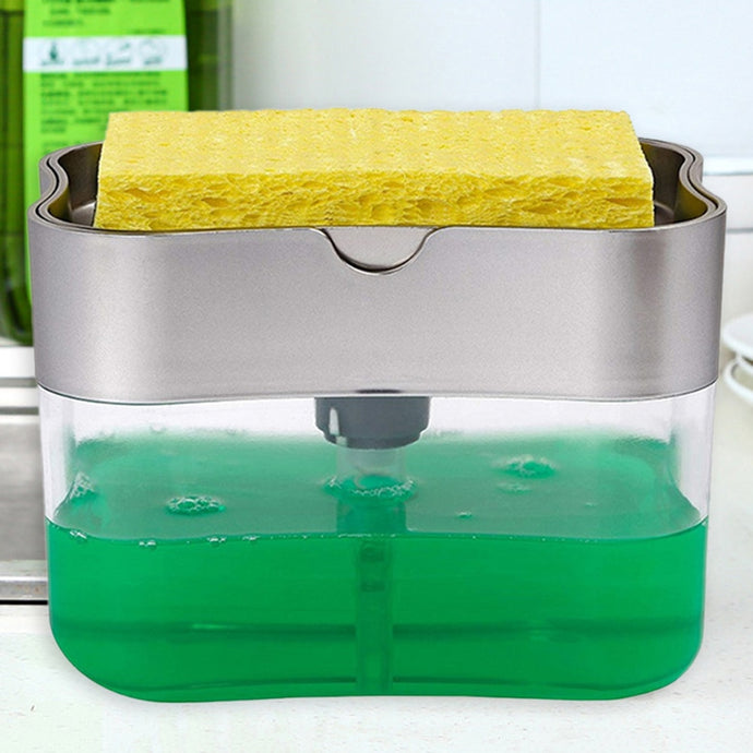 2 in 1 Scrubbing Liquid Detergent Dispenser Press-type-SOAP DISPENSER-All10dollars.com