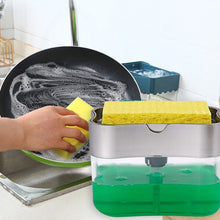 Load image into Gallery viewer, 2 in 1 Scrubbing Liquid Detergent Dispenser Press-type-SOAP DISPENSER-All10dollars.com