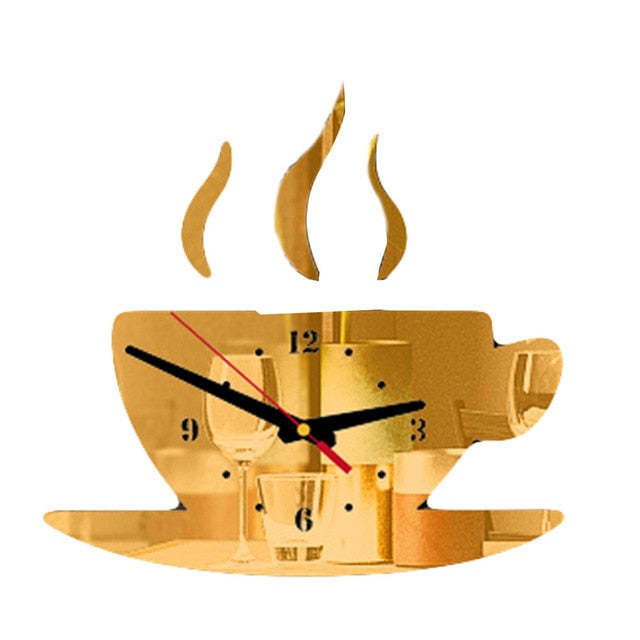 Coffee Cup Shape Time Clock.-Clock-All10dollars.com
