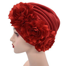 Load image into Gallery viewer, Women's Turban Caps Big Flowers Headscarf Wedding Party Hat