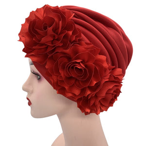 Women's Turban Caps Big Flowers Headscarf Wedding Party Hat