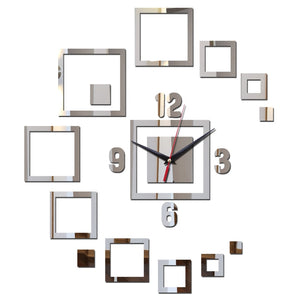 Sticker wall clock acrylic mirror  quartz diy