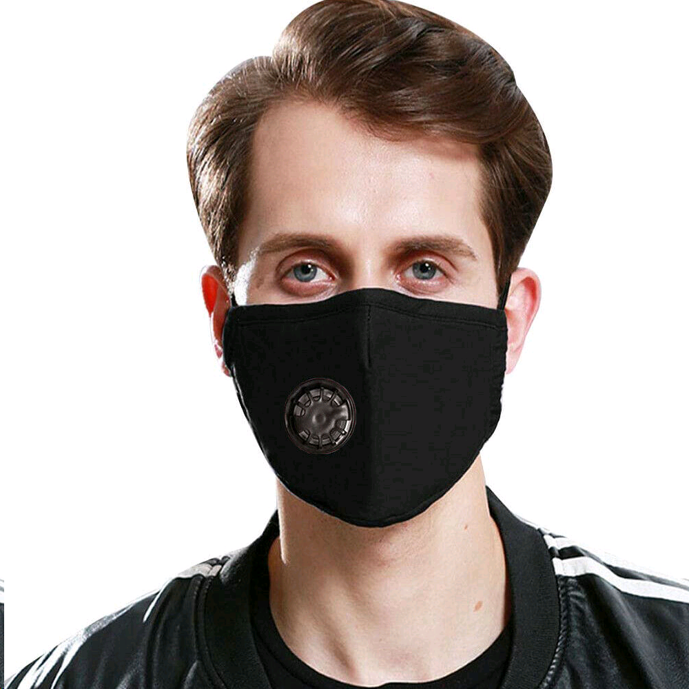 black mask with breathing valve and filter pocket